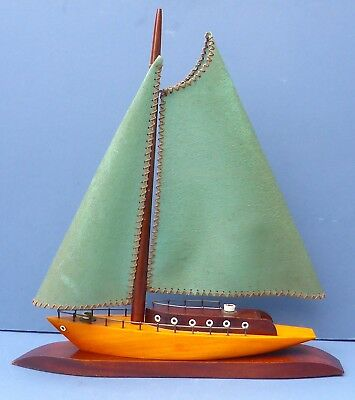 Super Vintage Retro Boat Yacht Shaped Wooden Table Side Lamp 1930s-50s Kitsch