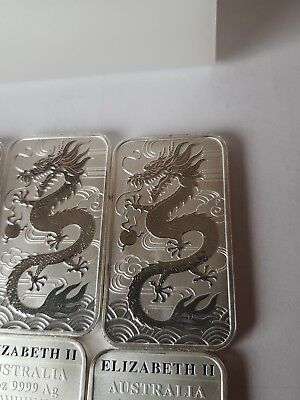 5 x 1oz. 2018 .Perth Mint . Silver Dragon Bar. 9999 fine silver.