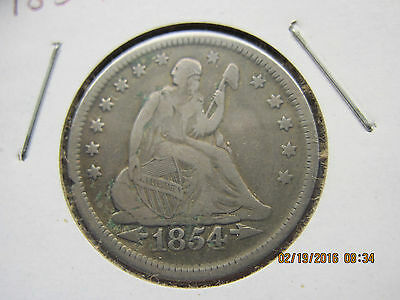 1854   Seated Liberty Quarter  90% silver      Very Fine