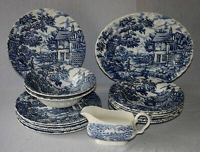 "Myott  Blue & White Transfer Ware "" The Hunter "" Pattern Tableware"