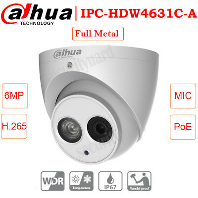 Dahua Metal 6MP IPC-HDW4631C-A Built-in MIC H.265 Security Dome POE IP CAMERA