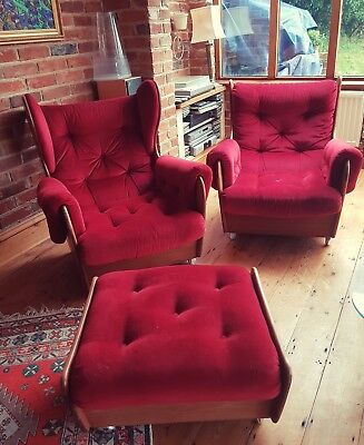 Vintage Retro Red G Plan Teak Saddle Suite, Sofa, two chairs and foot stool