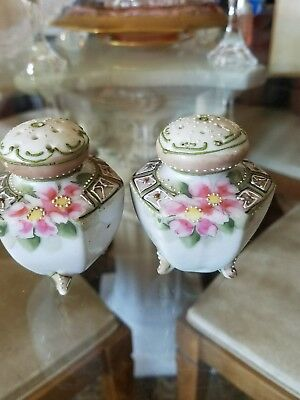 Antique Vintage Japanese Hand Painted Salt and Pepper Shakers