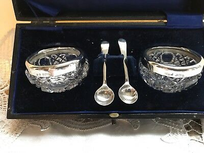 Antique Silver Boxed Salt Pots With Spoons