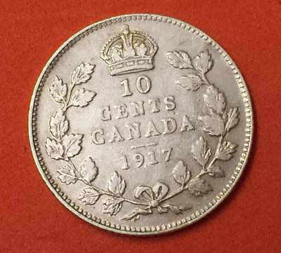 1917 Canada Ten Cents Dime King George V Sterling 92.5%  Silver High Grade Coin