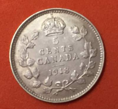 1918 Canada Five 5 Cent Edward Vii Sterling 92.5% Silver Xf/ Au Grade The Coin