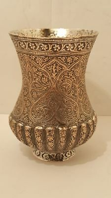 Antique Islamic Silver Plated Cup Indo Persian Indian Kashmire