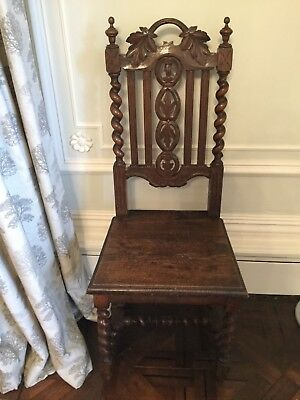 Antique Victorian Gothic Style Dark Oak Hall High-backed Chair. Collect Chester