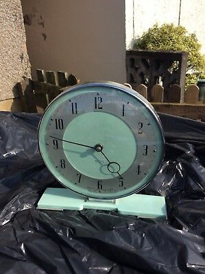 Stunning Art Deco Mantel Clock Chrome And Mint Green Smiths 8 Day