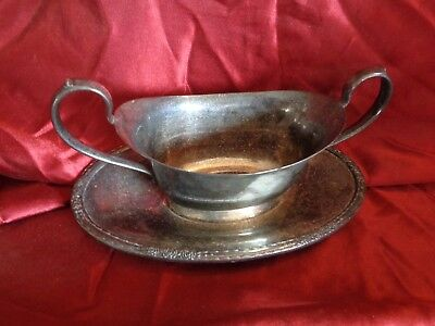 Vintage Camille Silver Plated Gravy Boat w/ Underplate International Silver 6013