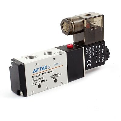"1/4"" DC 12V 5 way 2 position Pneumatic Electric Solenoid Valve NPT Air Aluminum"