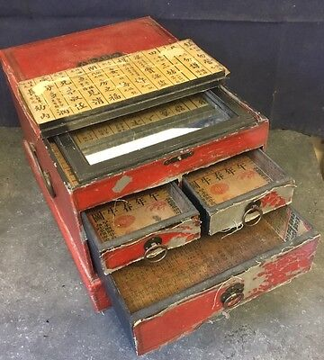 Antique Chinese Wooden Travel Vanity Box with Character Decoupage Drawers Lining