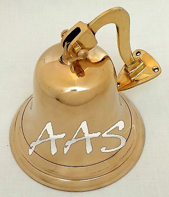 Brass Maritime Ship's Bell With Mount Bracket Door Hanging Nautical Wall Decor