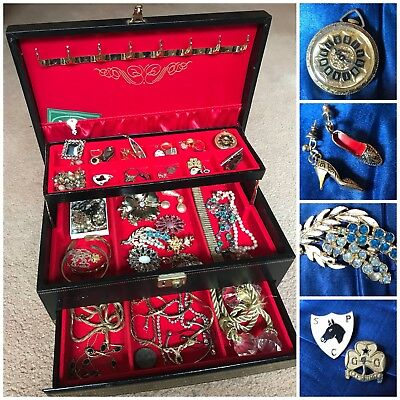 Job Lot Antique Vintage Jewellery with Mele USA Cantilever Jewellery Box