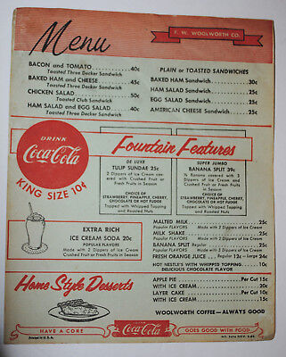 VINTAGE CA  1955 F W WOOLWORTH - COUNTER MENU w/ COCA COLA & WW RADIO AD