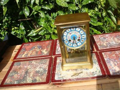 ANTIQUE  French Brass Four  / 4 Glass  Door   Mantle Clock With Key And Pendulum