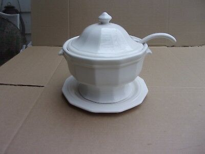 Large Iron Stone Soup Tureen Under Plate And Original Ladle