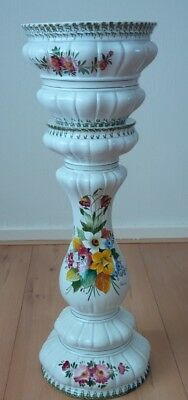 Beautiful signed ceramic jardiniere pedestal stand plant pot bowl