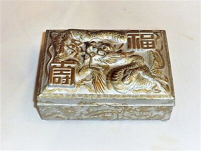 Vintage Metal Chinese Cigarette Box Unique Design Pewter? Wood Inlay Dragon