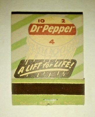 Very Rare Mint  A Lift For Life Dr Pepper Complet Matchbook And Matches 40`s