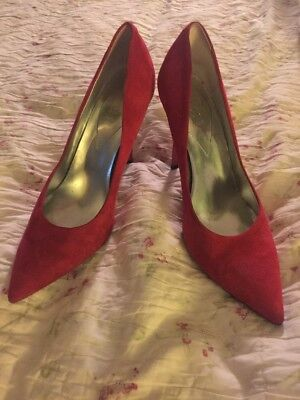 d3a801c77c7 GUESS Red Suede Leather Pointy Toe CARRIE Stilettos Heels Pumps Women s SZ 8