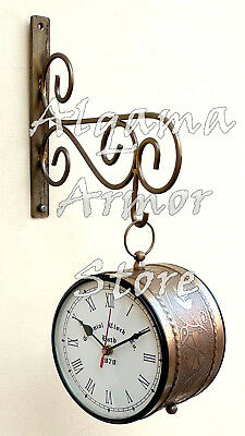 Antique Brass Victoria Station Clock Double Sided Railway Clock Home Wall Decor