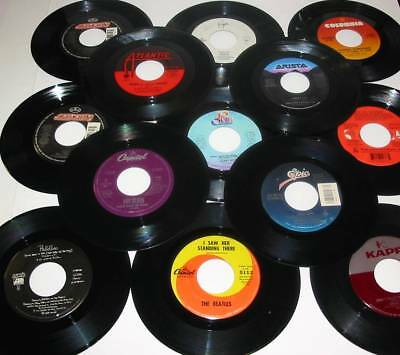 100 Like New 45 RPM Vinyl Records Some With Jukebox Strips All With Sleeves