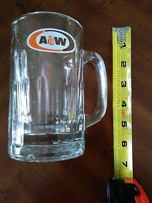 Vintage A&W Heavy Glass Root Beer Mug Classic Orange and Brown Logo Heavy
