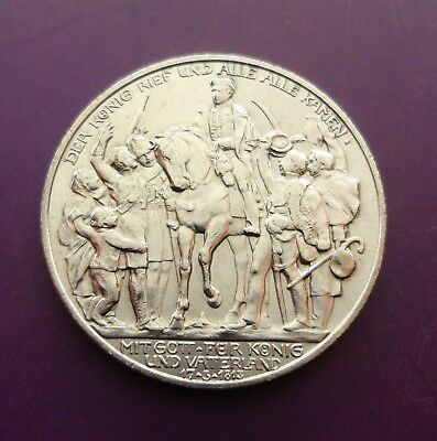 1913 2 mark SILVER ZWEI MARK Defeat of Napoleon Prussia German States