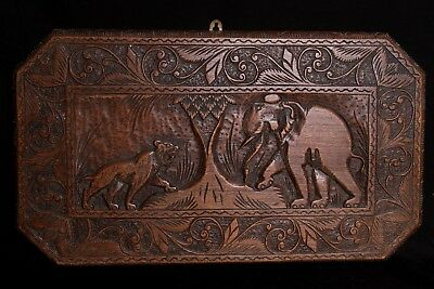 Carved Wooden Plaque with Tiger & Elephant