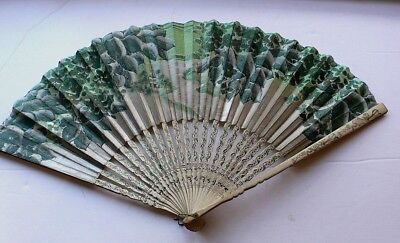 EARLY 20th CENTURY CHINESE HAND PAINTED FAN BEAUTIFUL LANDSCAPE -