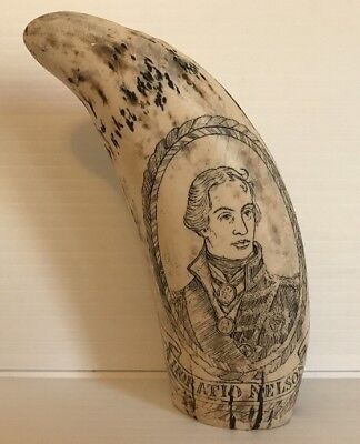 Vintage Reproduction Scrimshaw Captain Horatio Nelson HMS Victory Whales Tooth