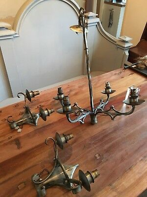 Vintage Bespoke Blacksmith Forged Metal Chandelier & 2 Wall Sconces Custom Light