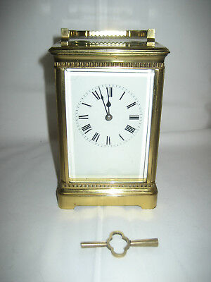 A Nice Antique / Vintage Brass Carriage Clock, In Good Working Order with Key.