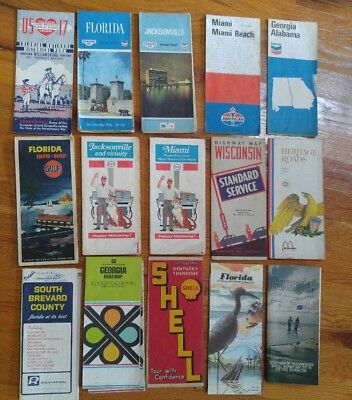 Old Road Maps Collection from Gas Stations Advertising 1940's and up.