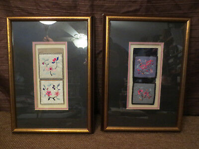 Two Fine Antique Framed Chinese Silk Hand Embroidered Metal Threads Fiber Art