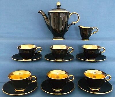 STAVANGERFLINT NORWAY BLACK GOLD 14 PIECE COFFEE SET VINTAGE RETRO c1950s SUPERB