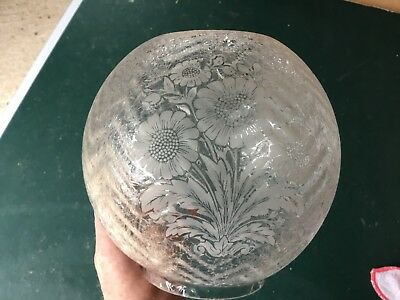 Vintage Etched Oil Lamp Shade With Flower Pattern - 98mm Fitting