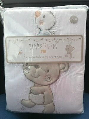 Mothercare Bear And Friends Coverlet Cot Or Cot Bed Brand New