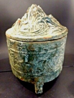 Large Ancient Han Dynasty Glazed Hill Jar and Cover - CHINA - 206 BC to 220 AD