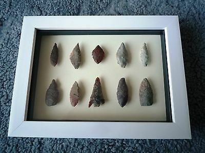 Neolithic Arrowheads in 3D Picture Frame, Authentic Artifacts 4000BC (0887)