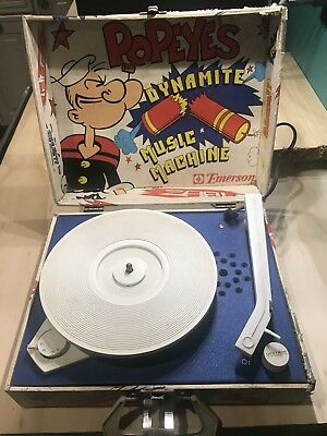 Vintage 1970s Popeye's Dynamite Music Machine Phonograph Record Player Works!