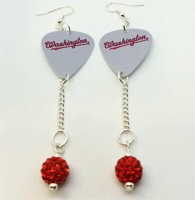 f1fb9a8ff MLB Washington Nationals Guitar Pick Earrings with Red Pave Bead Dangles