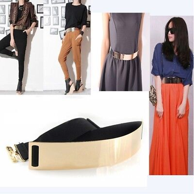 Gold Plate Elegant Mirror Bling Metal Waist Belt Obi Wide Band Metallic