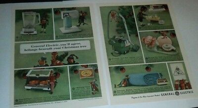 Vintage 1963 Magazine Print Ad Christmas w/Pixies General Electric 2 Page 7X5 VG