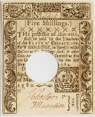 March 1, 1780 5s Five Shillings Connecticut Colonial Currency