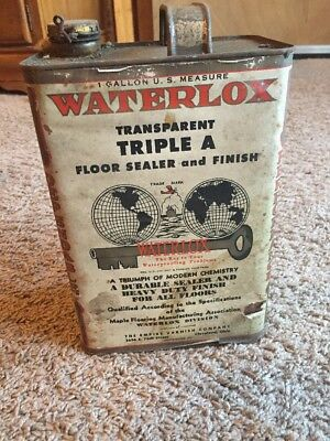 Vintage Waterlox 1 Gallon Varnish Can With Paper Label   878-V