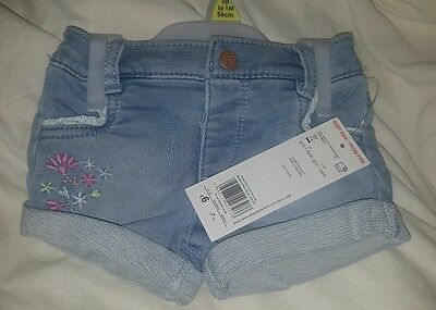 baby girls jean shorts/flowers,bnwt,up to 1 month,tesco,present/twins/tights pos
