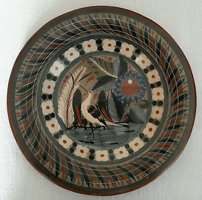 Vintage V. Silva Mayan Aztec Mexican Folk Art Painted Decorative Ceramic Plate