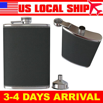 Pocket Hip Flask 8 Oz w/ Funnel 18/8 Stainless Steel Black Leather Wrapped Cover
